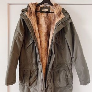 Olive Green Hooded Parka with Faux-Fur Lining